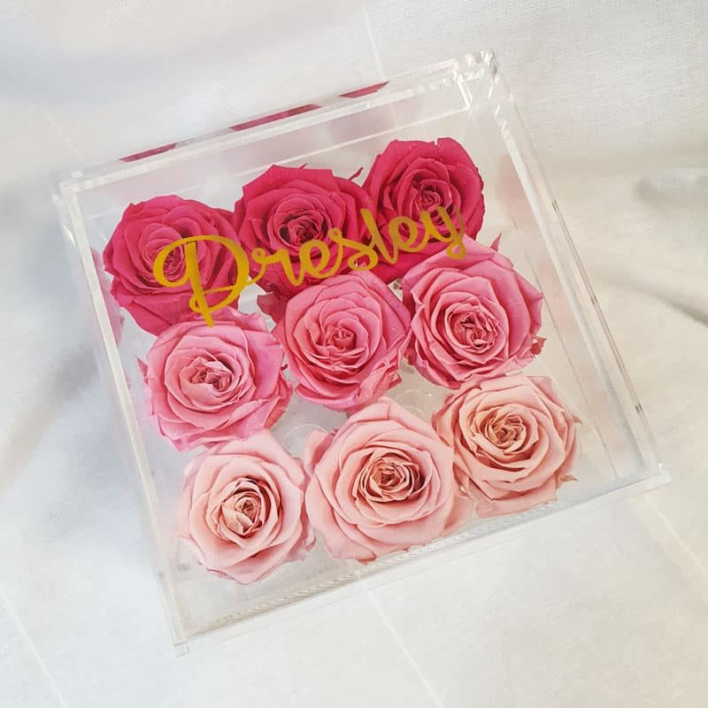 Preserve Flower Acrylic Box Pink Gradients custom name