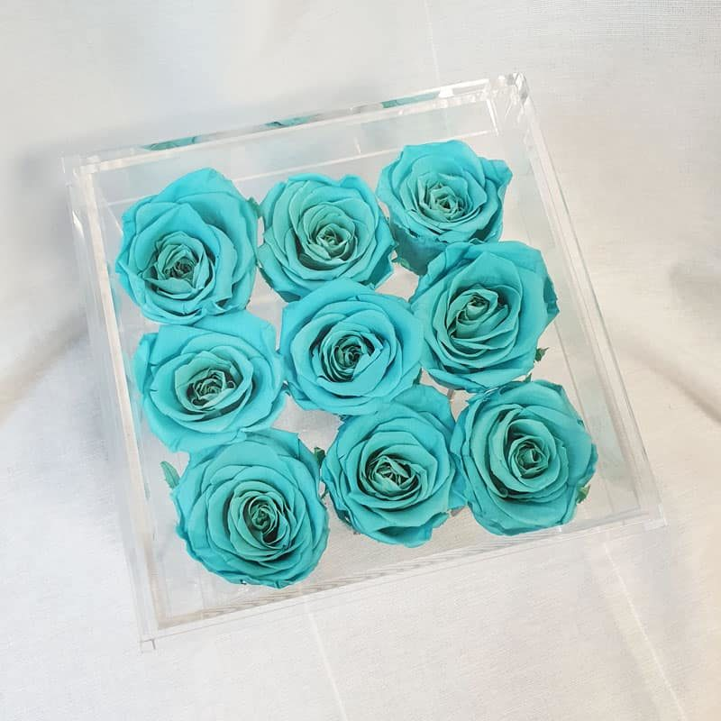 Preserve Flower Acrylic Box Tiffany Blue