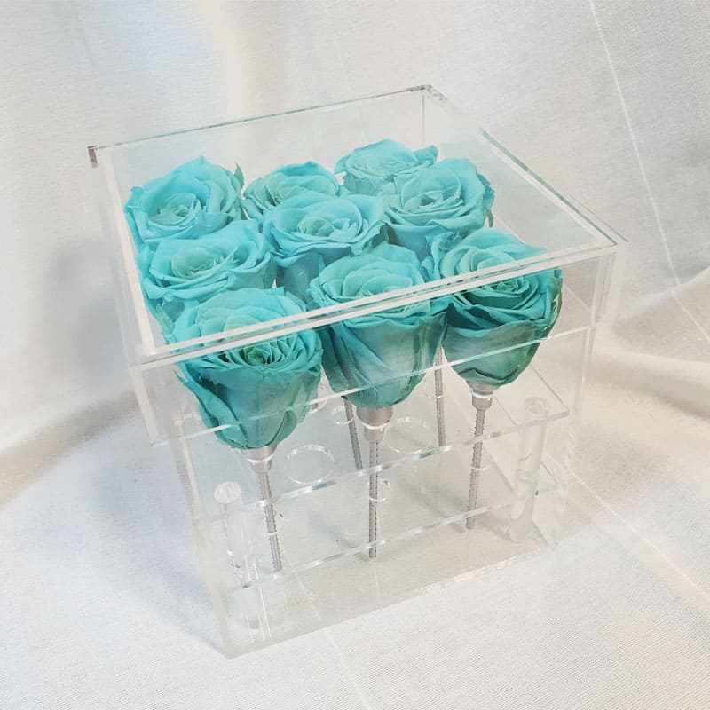 Preserve Flower Acrylic Box Tiffany Blues