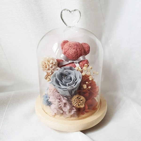 Preserved Flower Bell jar Berry Bear