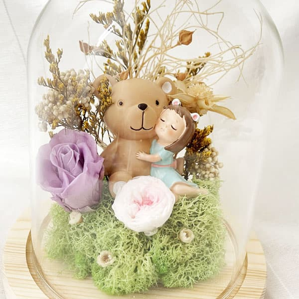 Preserved Flower Belljar Duffy Bear