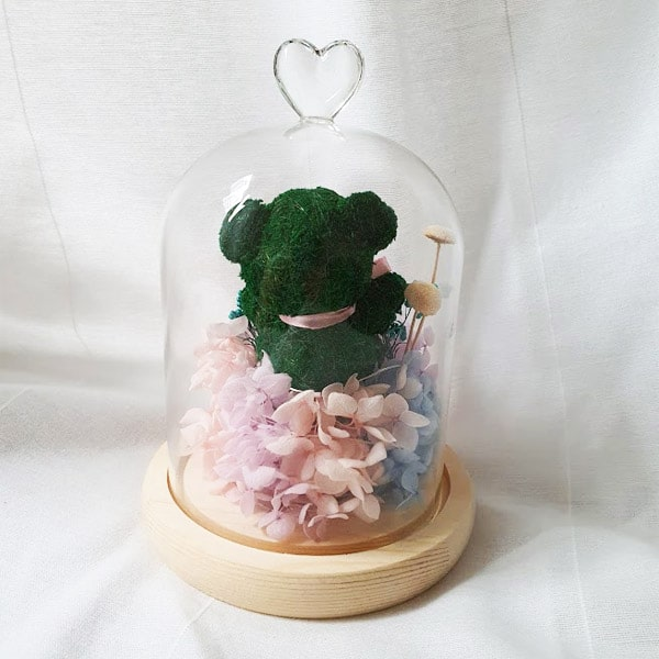 Preserved Flower Bell jar Foresty Bear