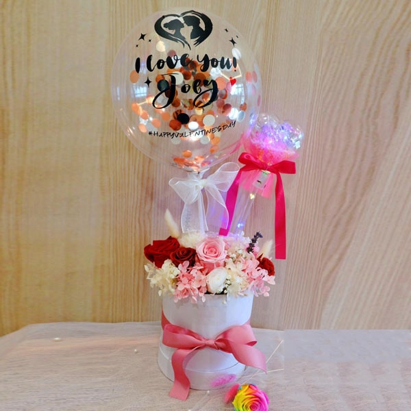 Valentines Preserve Flower Basket with Customize Confetti Balloon